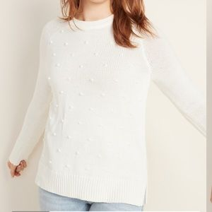 White Old Navy Pompom Sweater